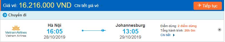 Vé máy bay đi Nam Phi Johannesburg từ Hà Nội
