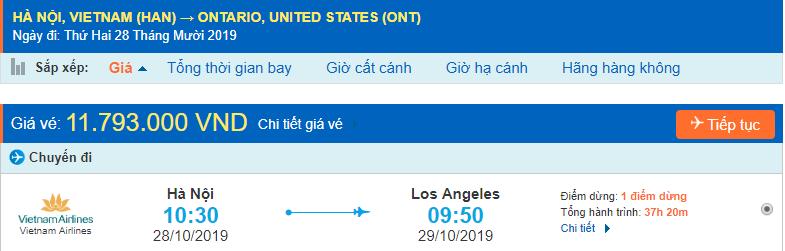 Vé máy bay đi Ontario từ Hà Nội