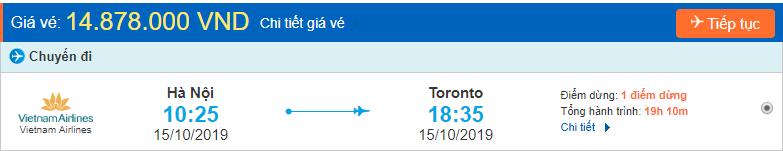 Vé máy bay sang Canada Toronto
