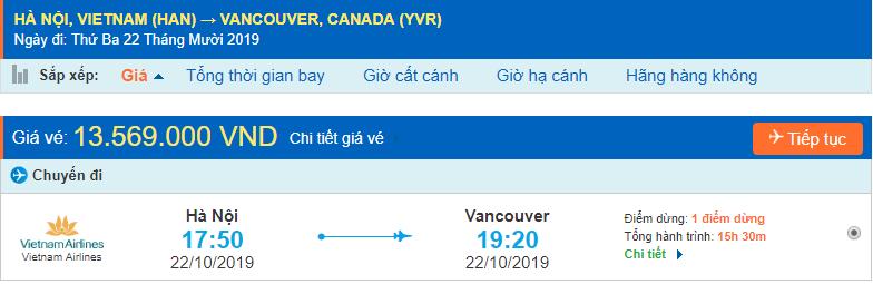 Vé máy bay đi Canada Vancouver từ Hà Nội