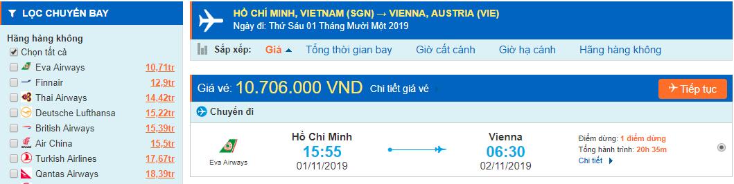 Vé máy bay đi Áo từ Hồ Chí Minh