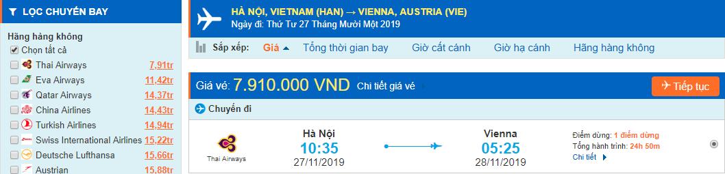 Vé máy bay đi Áo từ Hà Nội