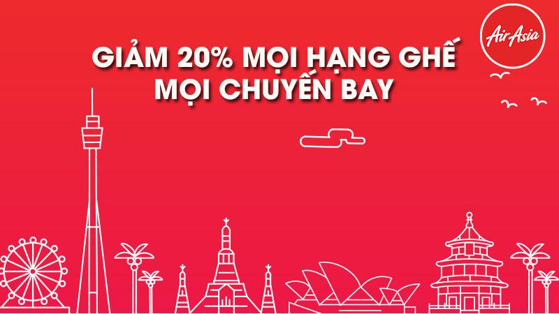 Siêu khuyến mãi từ Air Asia vé máy bay giảm 20% mọi hạng ghế