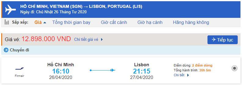 Giá vé máy bay từ TPHCM đi Bồ Đào Nha