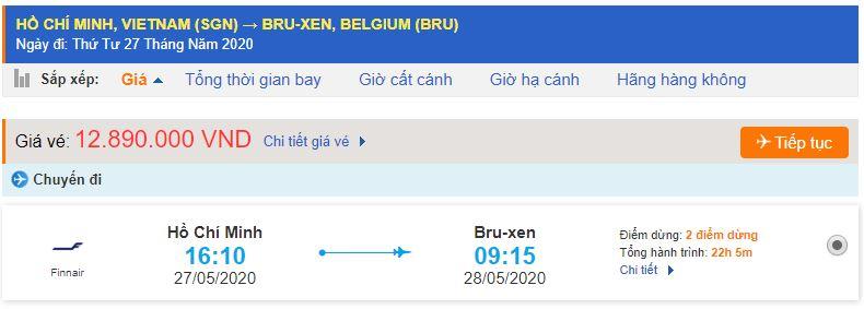 Vé máy bay từ TPHCM đi Brussels