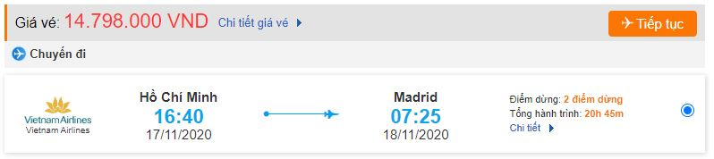 Giá vé máy bay TPHCM đi Madrid