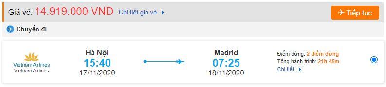 Vé máy bay từ Hà Nội đi Madrid