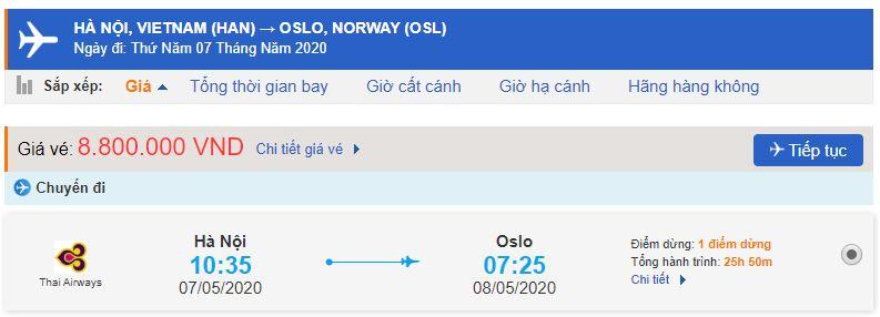 Vé máy bay từ Hà Nội đi Na Uy