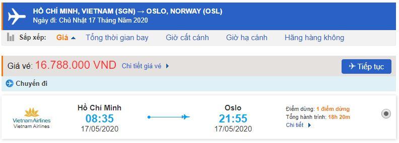 Giá vé máy bay TPHCM đi Oslo