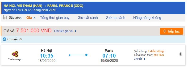 Vé máy bay đi Paris bao nhiêu tiền?