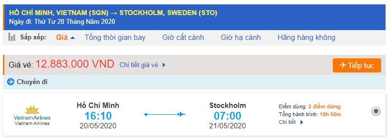 Vé máy bay từ TPHCM đi Stockholm