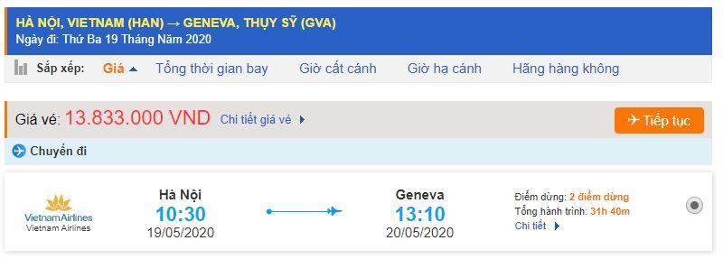 Vé máy bay đi Thụy Sĩ từ Hà Nội