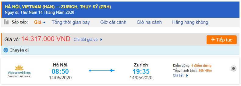 Vé máy bay đi Zurich từ Hà Nội