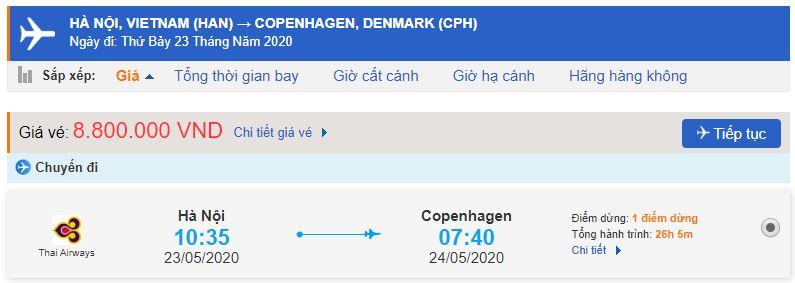 Giá vé máy bay Hà Nội Copenhagen