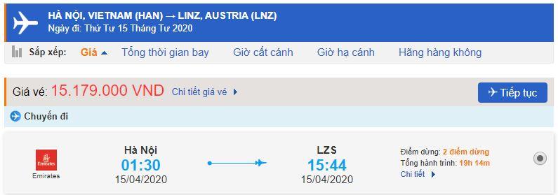 Giá vé máy bay Hà Nội đi Linz