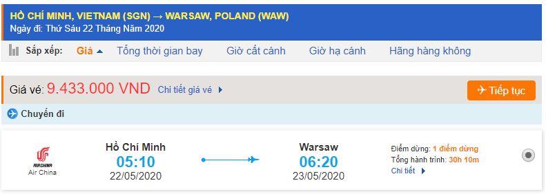 Vé máy bay từ TPHCM đi Ba Lan