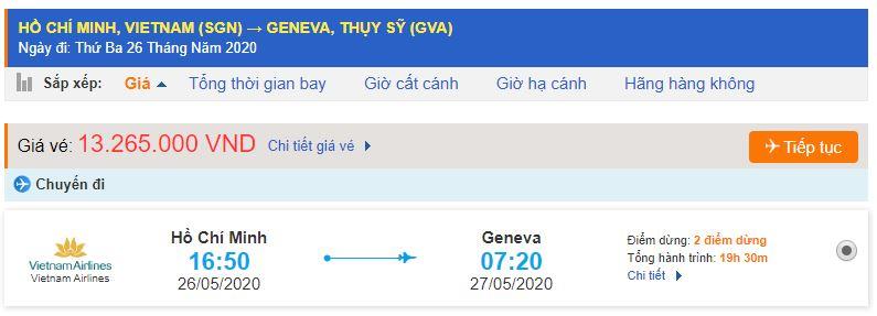 Vé máy bay Sài Gòn Thụy Sĩ