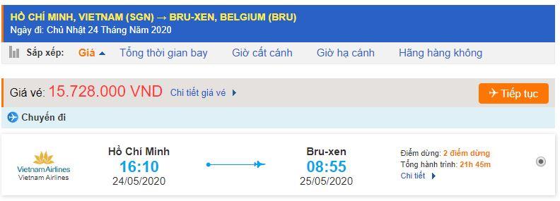 Vé máy bay Vietnam Airlines đi Bỉ
