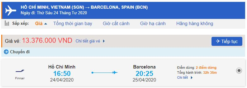Vé máy bay TPHCM đi Barcelona