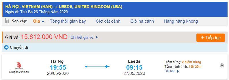 Vé máy bay đi Leeds từ Hà Nội