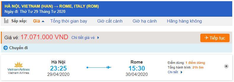 Giá vé máy bay từ Hà Nội đi Rome Vietnam Airlines