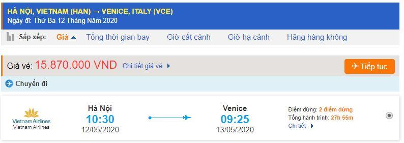 Vé máy bay đi Venice Vietnam Airlines