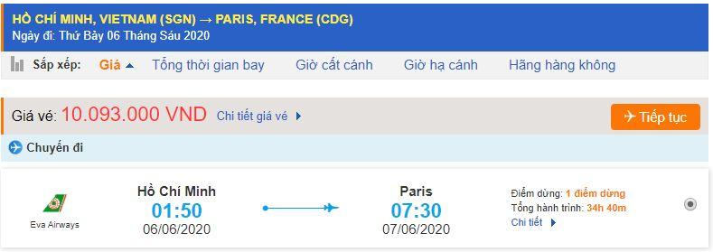 Vé máy bay từ TPHCM đi Paris