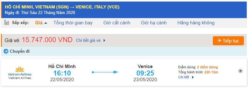 Vé máy bay từ TPHCM đi Venice