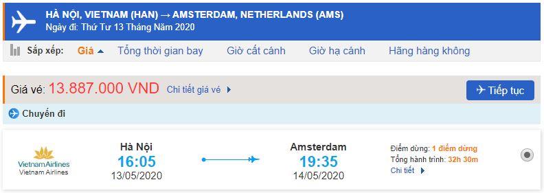 Giá vé máy bay Vietnam Airlines đi Amsterdam