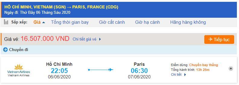 Vé máy bay Hồ Chí Minh Paris