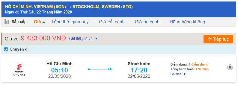 Vé máy bay đi Thụy Điển từ Hồ Chí Minh