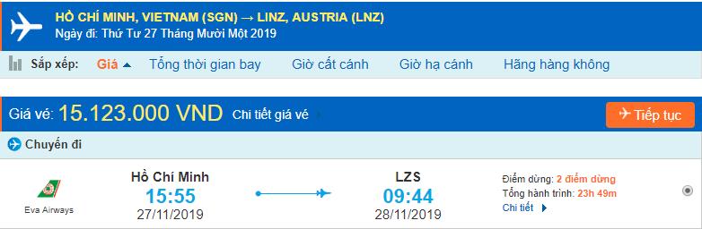 Vé máy bay đi Linz từ Hồ Chí Minh