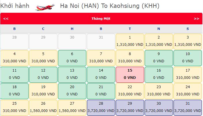 Vé máy bay 0 đồng đi Cao Hùng từ Hà Nội