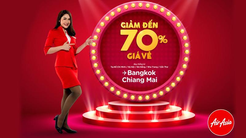 Khuyến mãi lớn từ Air Asia giảm 70% vé máy bay đến Thái Lan