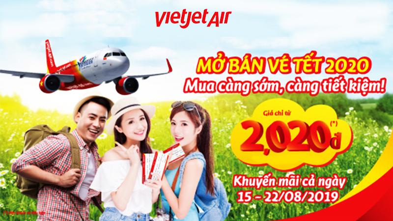 Khuyến mãi vé Tết 2020 siêu tiết kiệm từ Vietjet chỉ 2.020 VND