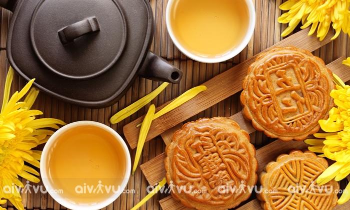 Tết Trung thu của Trung Quốc với bánh và trà