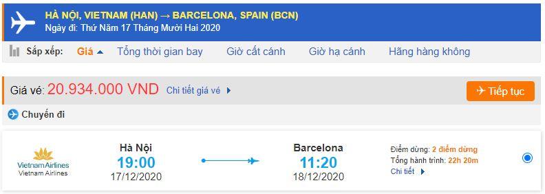 Giá vé máy bay đi Barcelona từ Vietnam Airlines