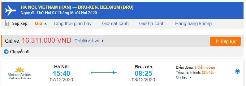 Giá vé máy bay Hà Nội đi Brussels