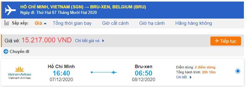 Vé máy bay đi Brussels từ TPHCM
