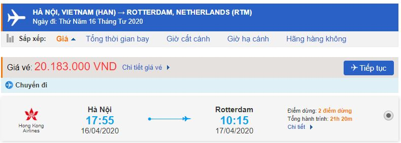 Vé máy bay Hà Nội đi Rotterdam