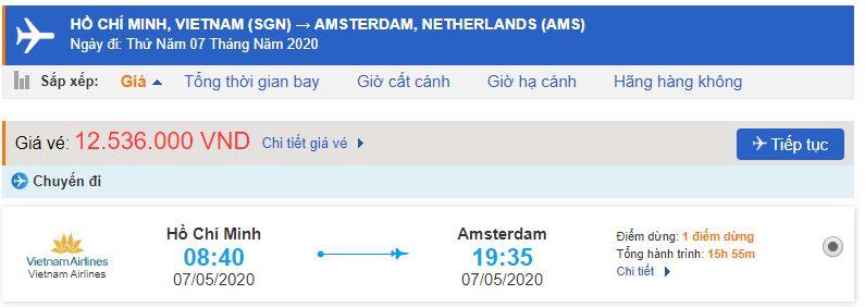 Vé máy bay từ TPHCM đi Amsterdam