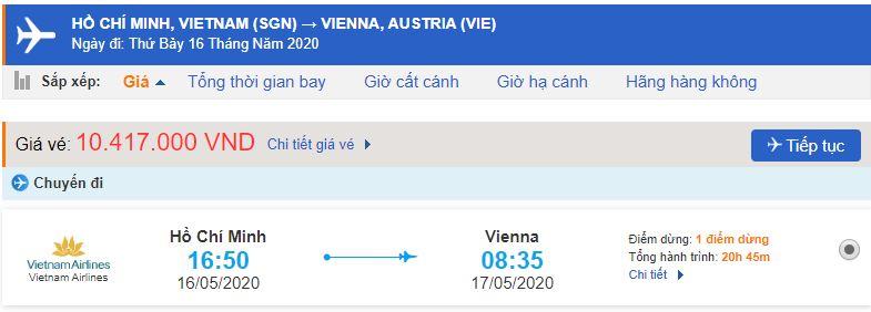 Giá vé máy bay từ TPHCM đi Áo