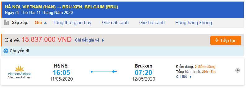Vé máy bay từ Hà Nội đi Bỉ