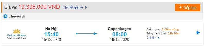 Giá vé máy bay từ Hà Nội đi Copenhagen