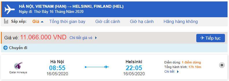 Vé máy bay Hà Nội Helsinki