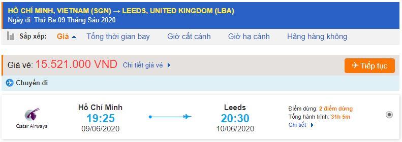 Vé máy bay từ TPHCM đi Leeds
