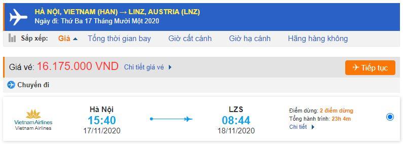 Giá vé máy bay đi Linz từ Hà Nội