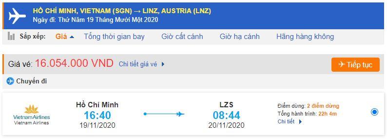 Vé máy bay từ TPHCM đi Linz Vietnam Airlines