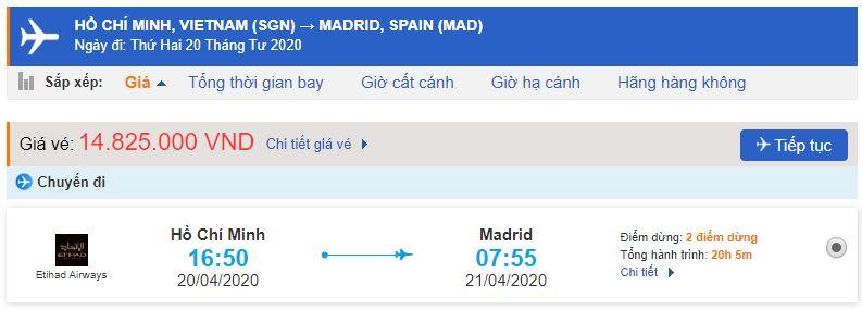 Vé máy bay đi Madrid Tây Ban Nha từ Hồ Chí Minh