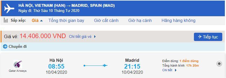 Vé máy bay đi Madrid từ Hà Nội